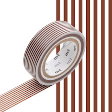 mt Washi Masking Tape - 15mm x 10m - Border Brown