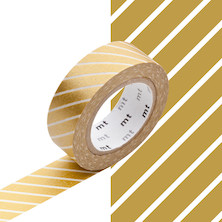 mt Washi Masking Tape - 15mm x 10m - Stripe Gold