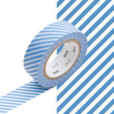 mt Washi Masking Tape - 15mm x 10m - Stripe Light Blue