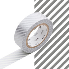 mt Washi Masking Tape - 15mm x 10m - Stripe Silver