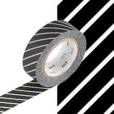 mt Washi Masking Tape - 15mm x 10m - Stripe Black