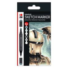Marabu Graphix Sketch Marker Set of 6 Alpha Robot