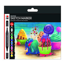 Marabu Graphix Sketch Marker Set of 12 Sugarholic