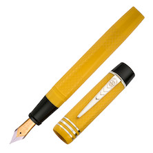 Onoto Magna Classic 18ct Gold Nib Fountain Pen Yellow Chased