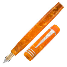 Onoto Magna Classic 18ct Gold Nib Fountain Pen Orange Pearl