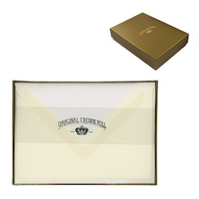 Original Crown Mill Card and Envelope Set Gold Line Deckle Edge