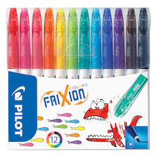 Pilot Frixion Colour Erasable Fibre Tip Colouring Pen Assorted Wallet of 12