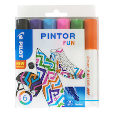Pilot Pintor Marker Pen Bullet Tip Medium Assorted Set of 6
