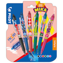 Pilot Frixion Clicker Erasable Rollerball Set of 6 Assorted 'Pilot by Mika' Limited Edition