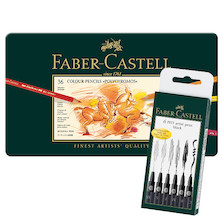 Faber-Castell Polychromos Pencils Tin of 36 with free pack of Assorted Pitt Drawing Pens