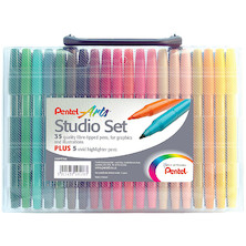 Pentel S360 Colour Pen Set of 35 with 5 Bonus Highlighters