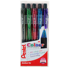 Pentel Retractable Colour Gel Pen Wallet of 5