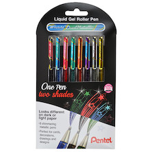 Pentel Dual Metallic Gel Pen Assorted Wallet of 8