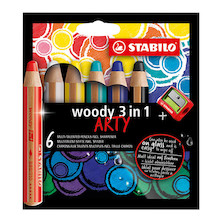 STABILO ARTY Woody 3 in 1 Pencil Wallet of 6