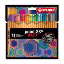 STABILO ARTY Point 88 Fineliner Pen Wallet of 24