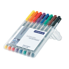 Staedtler Lumocolor Marker Pen non-permanent Fine Wallet of 8
