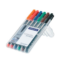 Staedtler Lumocolor Marker Pen Permanent Superfine Wallet of 6