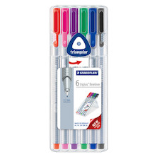 Staedtler Triplus Fineliner Pen Assorted Set of 6