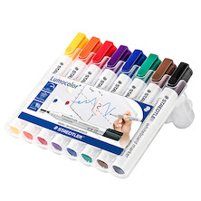 Staedtler Lumocolor Whiteboard Marker Bullet Tip Assorted Wallet of 8
