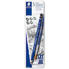 Staedtler Mars Lumograph Aquarell Watercolour Pencil Set of 5 + Brush