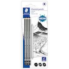 Staedtler Mars Lumograph Charcoal Set of 3 + Blender