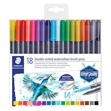 Staedtler Double-Ended Watercolour Brush Pens Set of 18