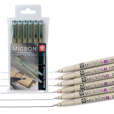 Sakura Pigma Micron Drawing Pen Black Set of 6