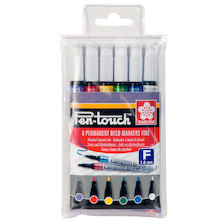 Sakura Pen-Touch Fine Set of 6 Assorted Colours