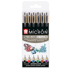 Sakura Pigma Micron Drawing Pens 05 Wallet of 6 Basic Colours