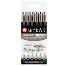 Sakura Pigma Micron Drawing Pens 05 Wallet of 6 Earth Colours