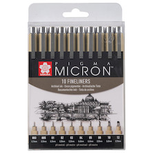 Sakura Pigma Micron Drawing Pen Set of 10 Black