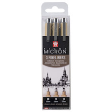 Sakura Pigma Micron Drawing Pen Set of 3 Black 08-10-12
