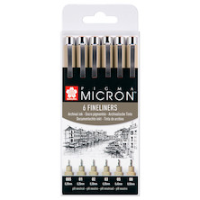 Sakura Pigma Micron Drawing Pen Set of 6 Black