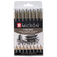 Sakura Pigma Micron Drawing Pen Set of 8 Black