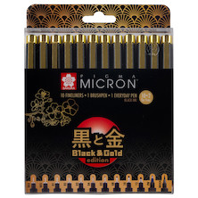Sakura Pigma Micron Black and Gold Edition Drawing Pen Set of 12