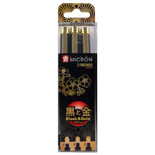 Sakura Pigma Micron Black and Gold Edition Drawing Pen Set of 3