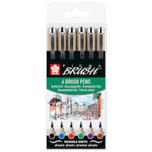 Sakura Pigma Brush Pen Set of 6 Assorted Colours