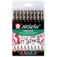 Sakura Pigma Brush Pen Set of 9 Assorted Colours