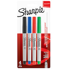 Sharpie Permanent Marker Ultra Fine Assorted Set of 4