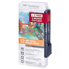 Tombow ABT Dual Brush Pen Set of 12 with 3 Free MONO Drawing Pens