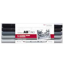 Tombow ABT PRO Dual Brush Pen Set of 5 Cold Grey
