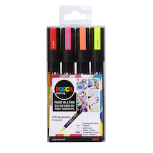 Uni POSCA Marker Pen PC-5M Medium Set of 4 Fluorescents