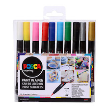 Uni POSCA Marker Pen PCF-350 Brush Set of 10 Assorted