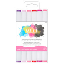 Docrafts Artiste Dual Tip Illustration Markers Chisel & Brush Set of 6