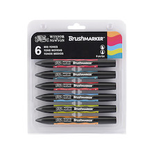 Winsor & Newton BrushMarkers Set of 6 Mid Tones
