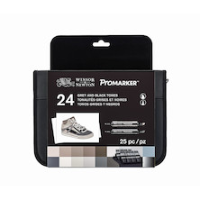 Winsor & Newton ProMarkers Set of 24 Black and Grey