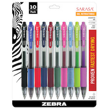 Zebra Sarasa Gel Rollerball Pen Medium 0.7 Set of 10 Assorted