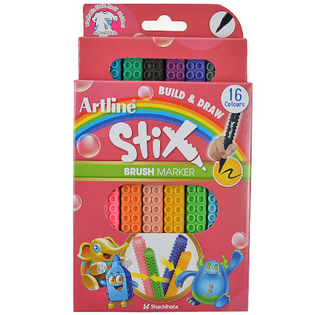 Artline STIX Build and Draw Brush Pen Set of 16
