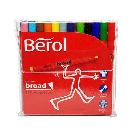 Berol Colourbroad Felt Pen Assorted Wallet of 24