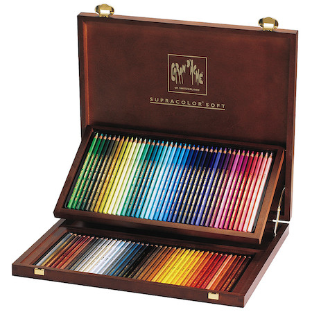 Caran d'Ache Supracolor Water Soluble Pencils Wooden Box of 80 Colours